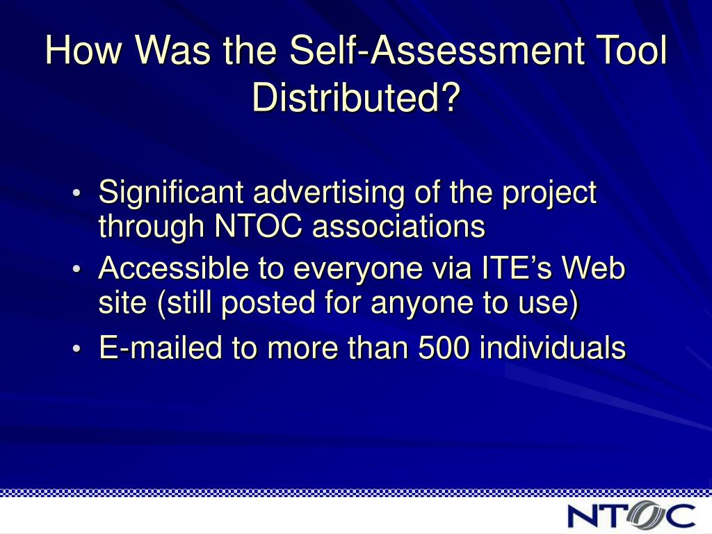 How Was the Self-Assessment Tool Distributed?