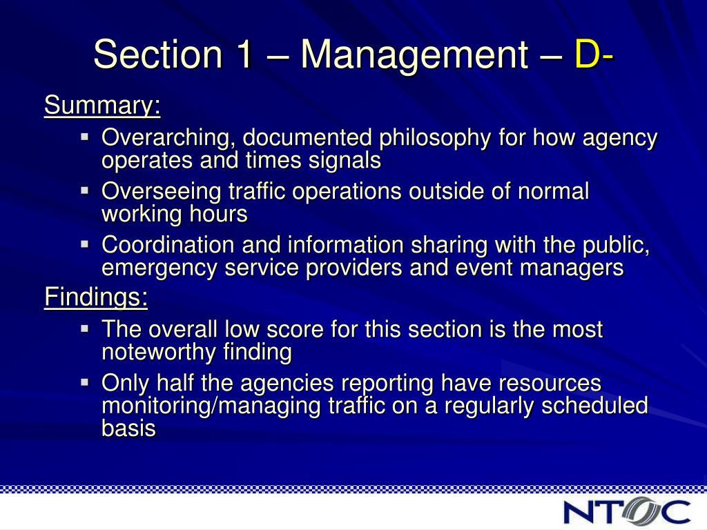 Section 1 – Management –