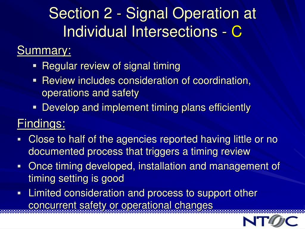 Section 2 - Signal Operation at Individual Intersections -