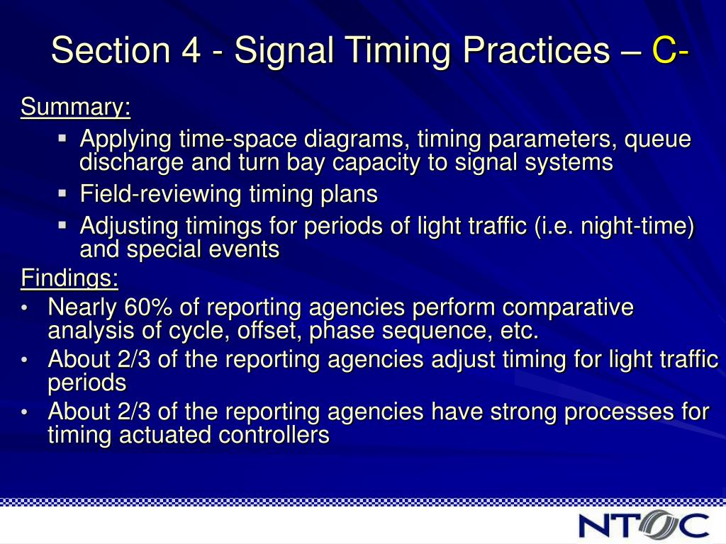 Section 4 - Signal Timing Practices –