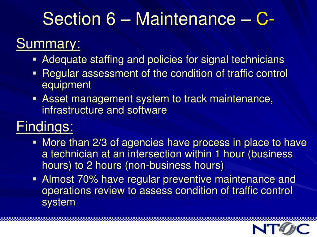 Section 6 – Maintenance –