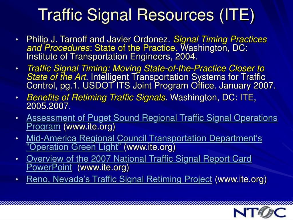 Traffic Signal Resources (ITE)