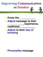 improving communication as senders