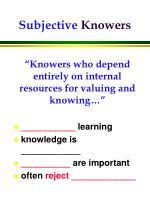 subjective knowers