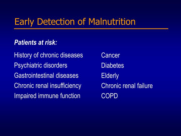 Early Detection of Malnutrition