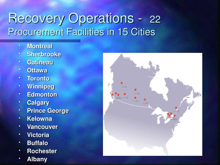 Recovery operations 22 procurement facilities in 15 cities