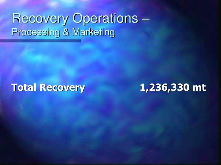 Recovery Operations –