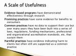a scale of usefulness