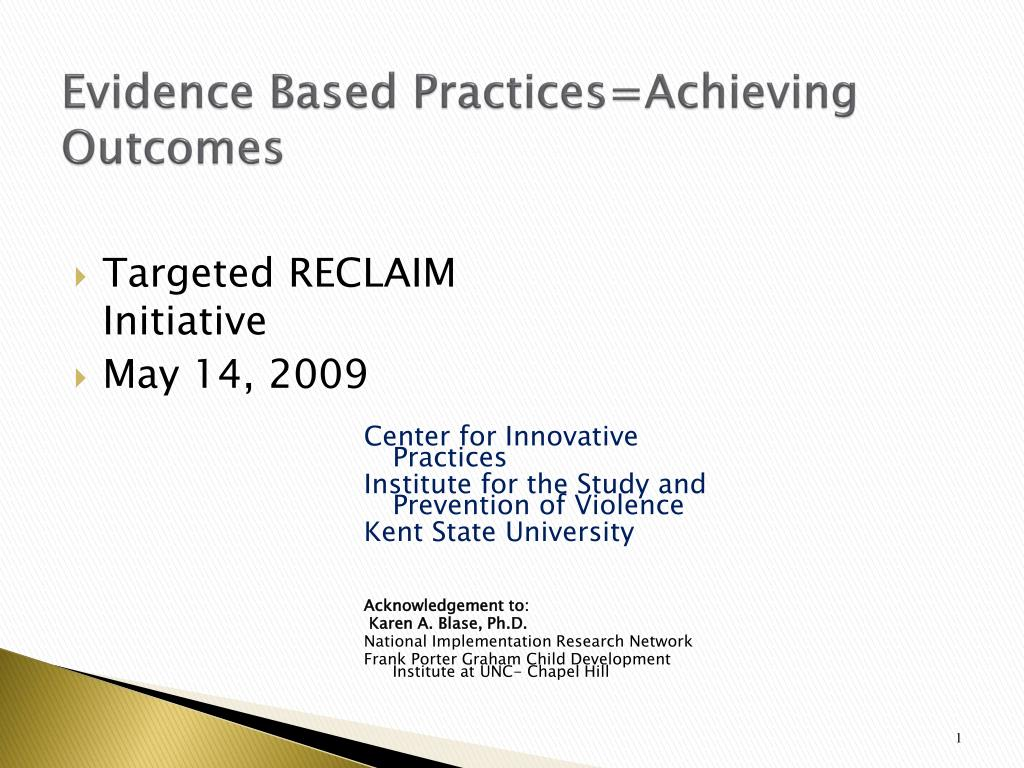 evidence based practices achieving outcomes