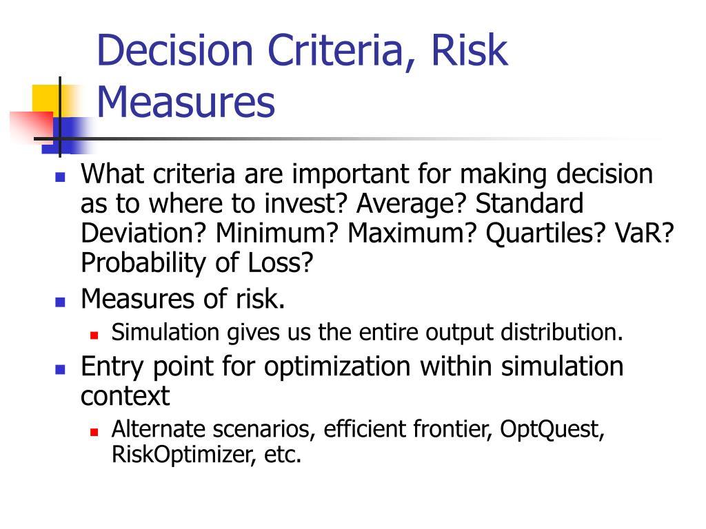 Decision Criteria, Risk Measures