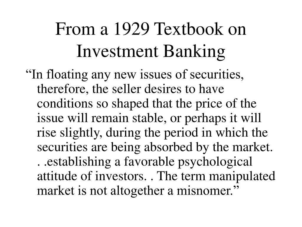 From a 1929 Textbook on Investment Banking