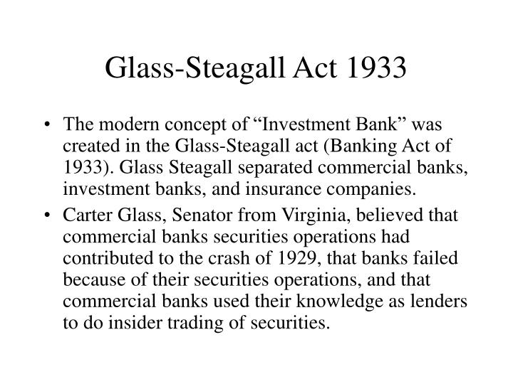 Glass steagall act 1933