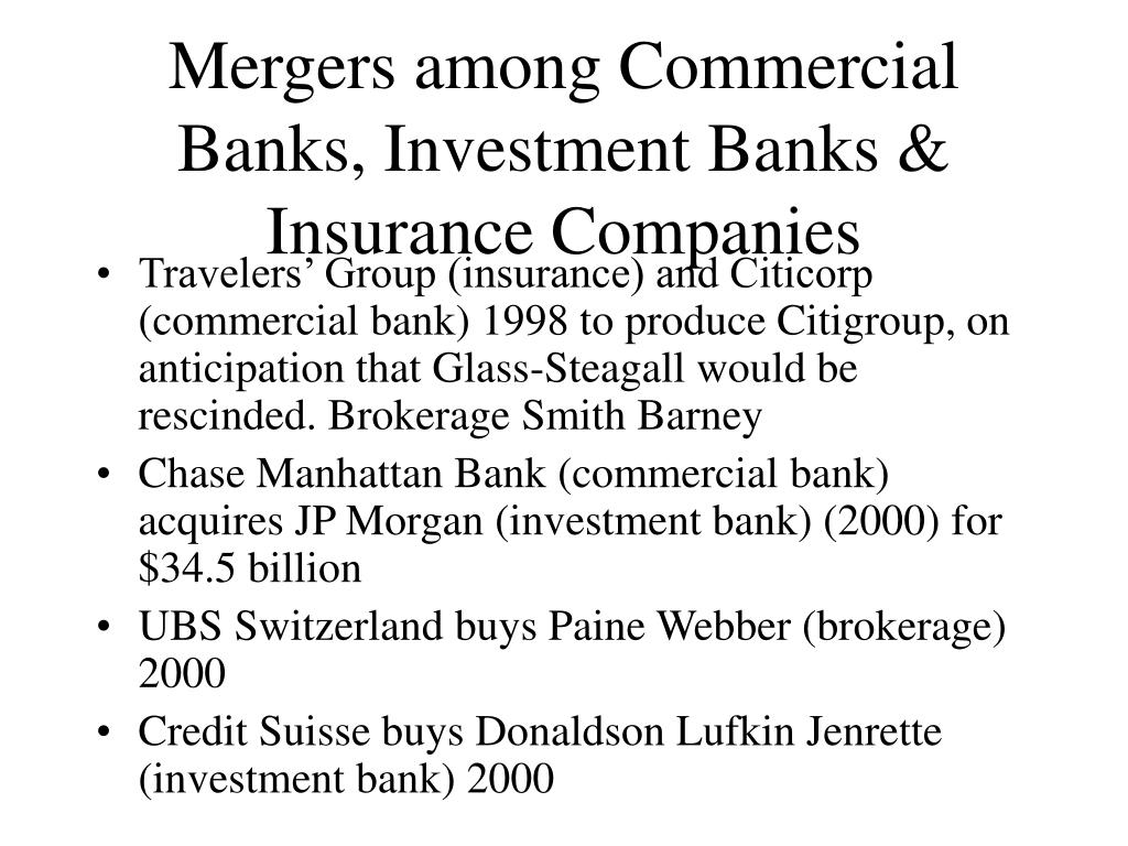Mergers among Commercial Banks, Investment Banks & Insurance Companies