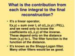 what is the contribution from each line integral to the final reconstruction
