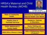 hrsa s maternal and child health bureau mchb