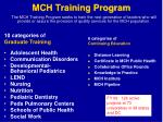 mch training program
