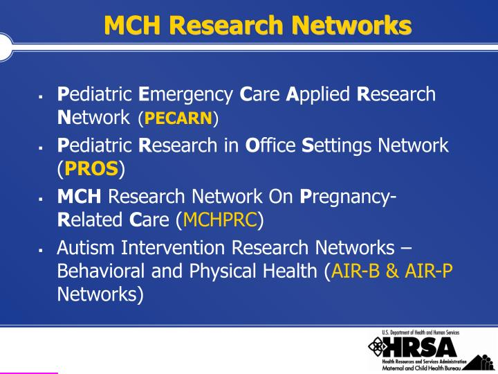 MCH Research Networks