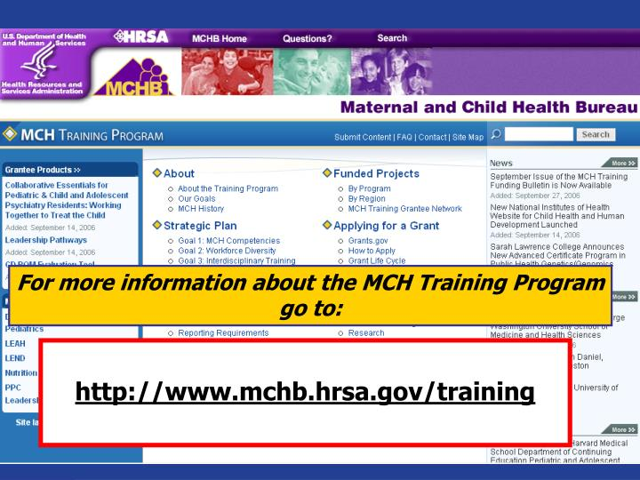 For more information about the MCH Training Program