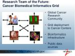 research team of the future cancer biomedical informatics grid