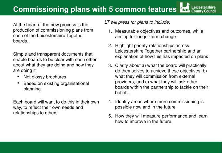Commissioning plans with 5 common features