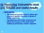 air monitoring instruments must give reliable and useful results10