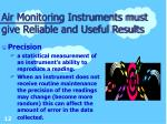 air monitoring instruments must give reliable and useful results12