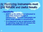air monitoring instruments must give reliable and useful results9