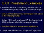 gict investment examples