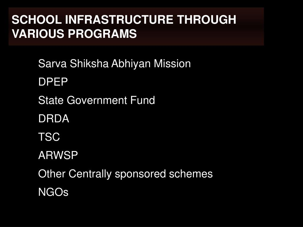 SCHOOL INFRASTRUCTURE THROUGH VARIOUS PROGRAMS