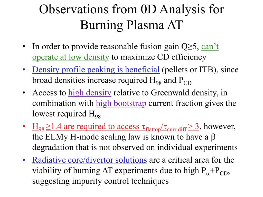 Observations from 0D Analysis for Burning Plasma AT