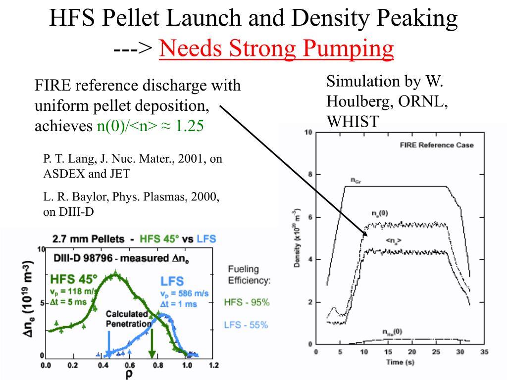 HFS Pellet Launch and Density Peaking --->