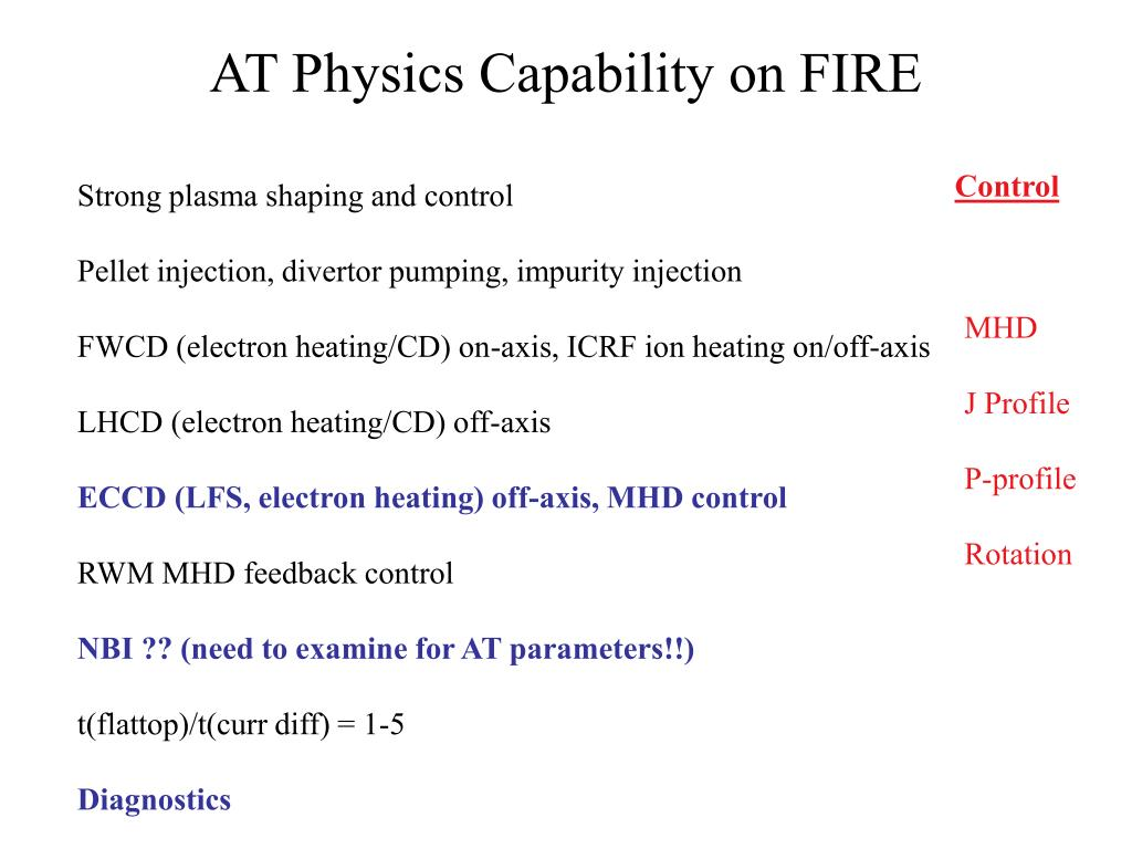 AT Physics Capability on FIRE