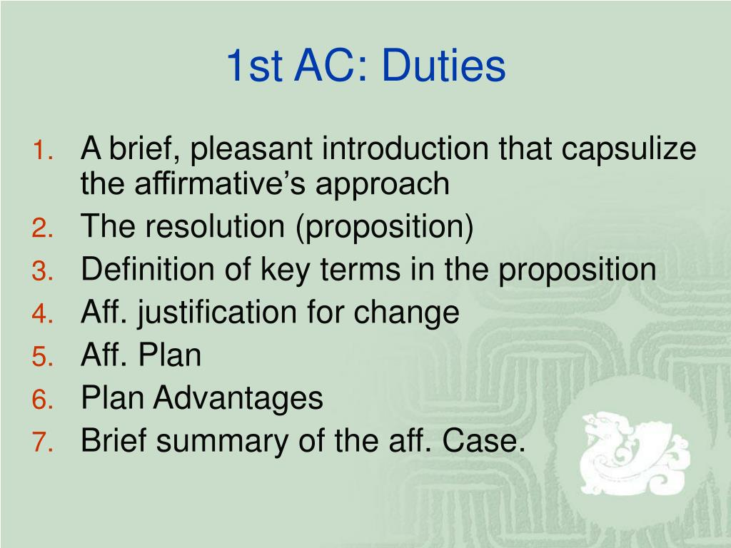 1st AC: Duties