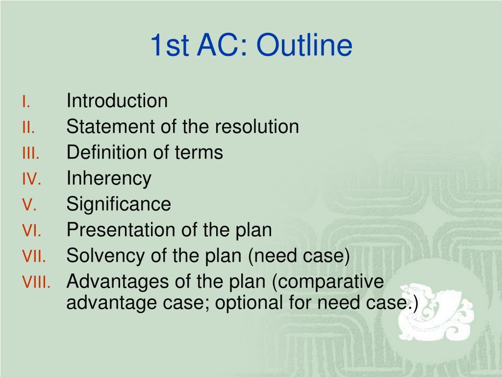 1st AC: Outline