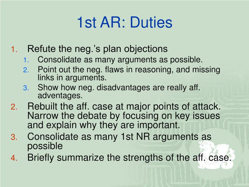 1st AR: Duties