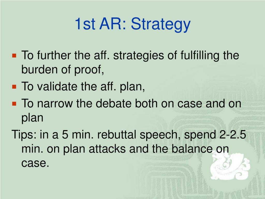 1st AR: Strategy