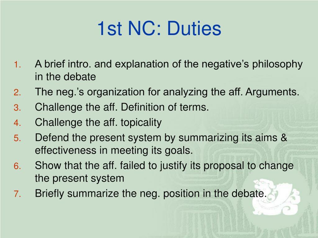 1st NC: Duties