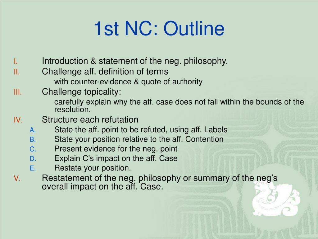 1st NC: Outline