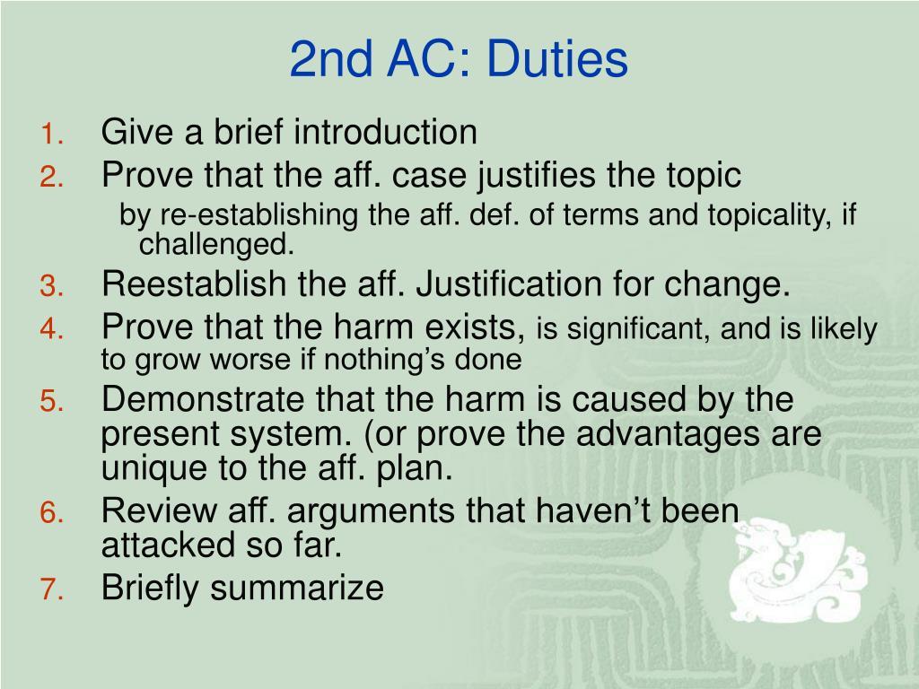 2nd AC: Duties