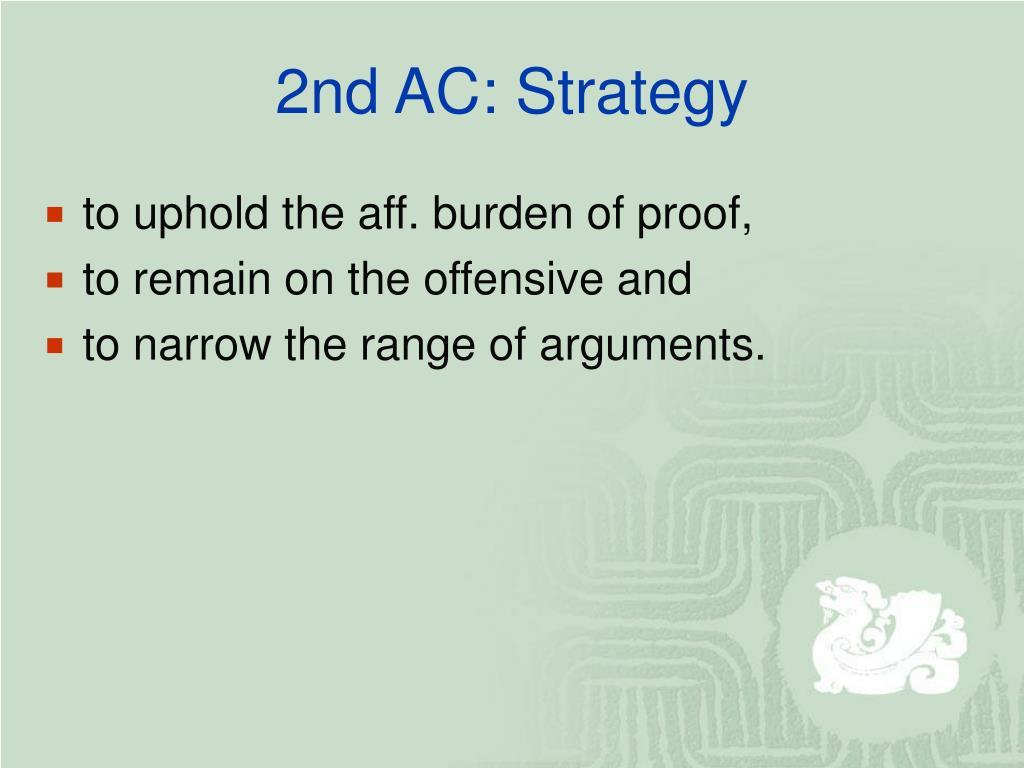 2nd AC: Strategy