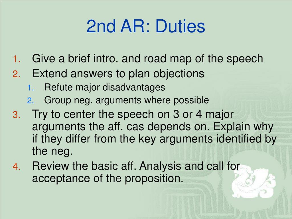 2nd AR: Duties