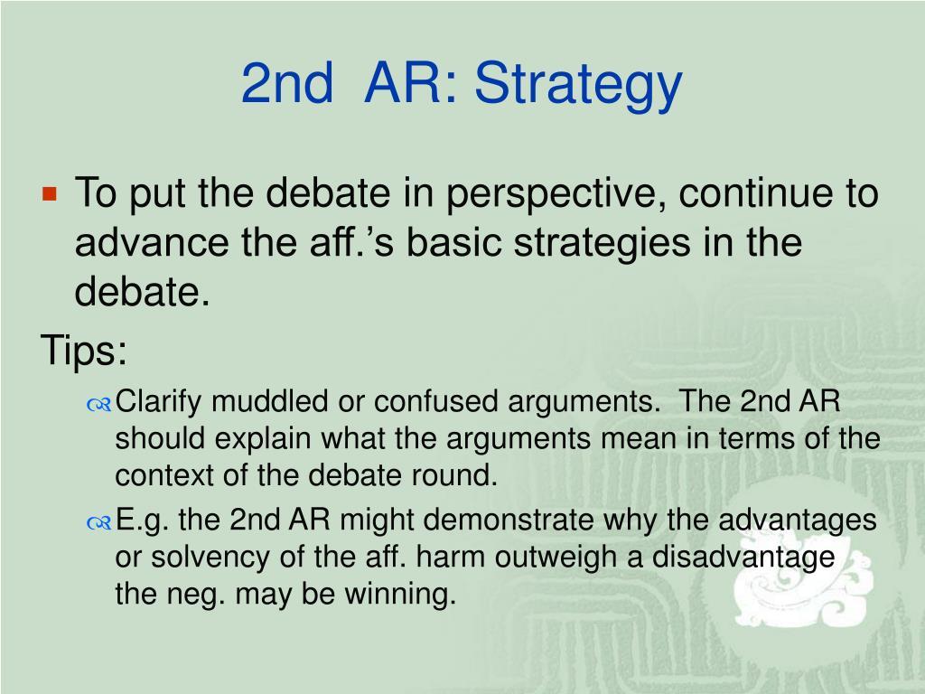2nd  AR: Strategy