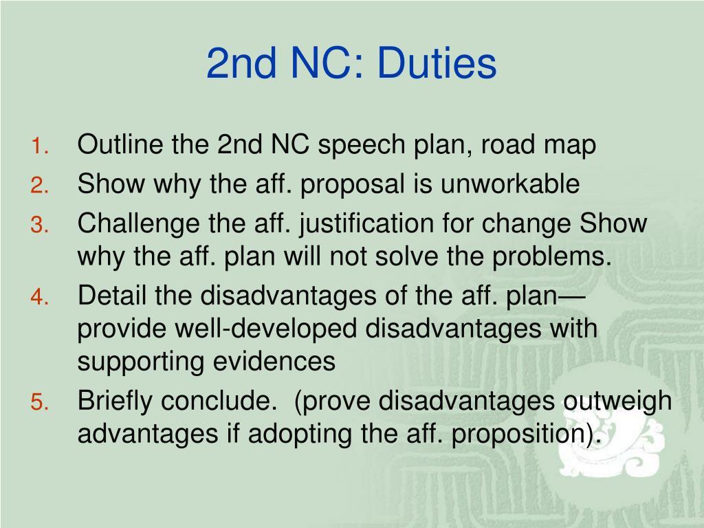 2nd NC: Duties
