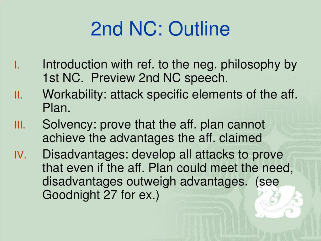 2nd NC: Outline