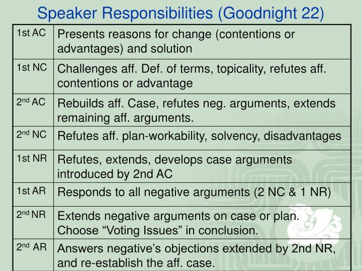 Speaker responsibilities goodnight 22