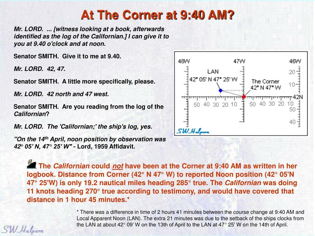 At The Corner at 9:40 AM?