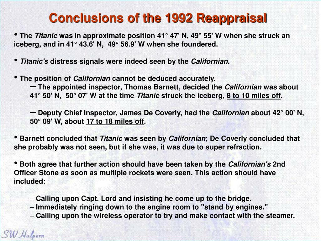 Conclusions of the 1992 Reappraisal
