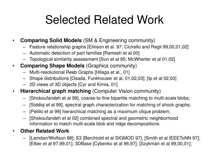 Selected related work