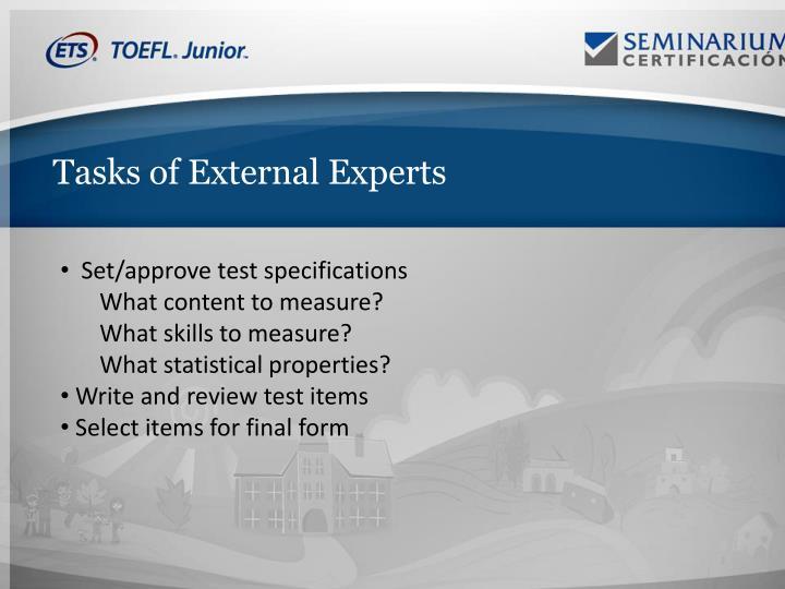 Tasks of External Experts