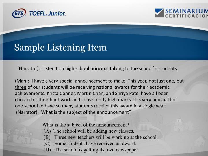 Sample Listening Item